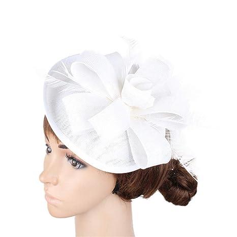 Fascinators Hat Feather Headwear Cappello da Donna Fascinator Cappello  Cocktail da tè Cappellini da Sposa Copricapo ed7454d49684