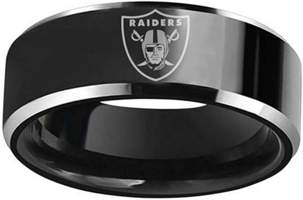 FlyStarJewelry Oakland Raiders Football Black Titanium Steel Men Sport Ring Band Size 6-13