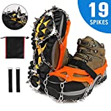 Crampons Shoe Claws with 19 Teeth Stainless Steel Spikes and Durable Silicone
