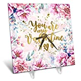 3dRose Uta Naumann Sayings and Typography - Pink Artprint Flower Frame Gold Typography - You Are My Valentine - 6x6 Desk Clock (dc_289849_1)