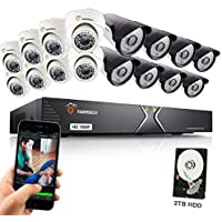 TIGERSECU 1080P 16-Channel Video Security DVR System, 2TB Hard Drive - Eight 2.0mp Outdoor and Eight Indoor Cameras, 100ft/50ft Night Vision (White)