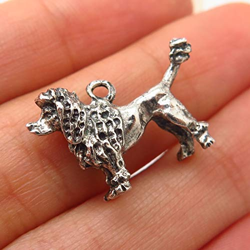 Pampered Poodle - 925 Sterling Silver Vintage Pampered Poodle Charm Pendant Jewelry Making Supply by Wholesale Charms