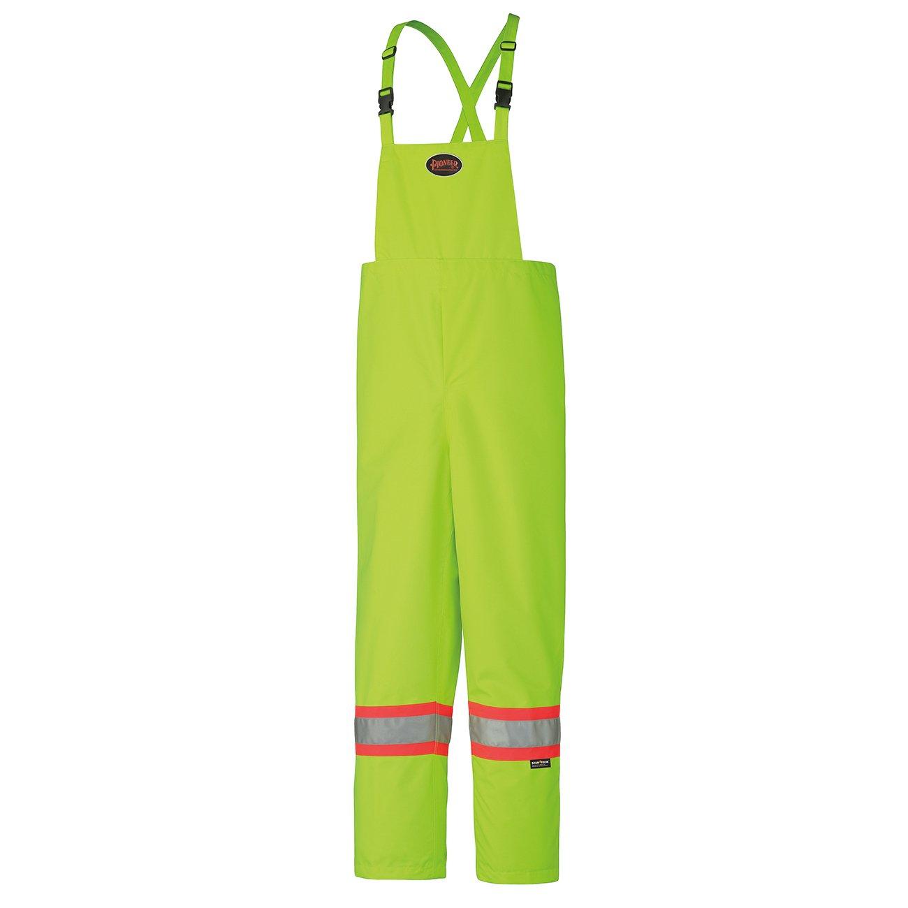Pioneer V1111060-2XL Rain Bib Work Pants 2XL Boot Access Zippers High Visibility Yellow