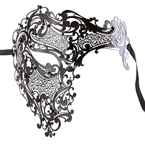Luxury Mask Men's Signature Phantom of The Opera Half Face Mask Metal, Black Stones, One Size