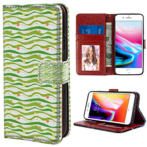 - iPhone 7 Plus, iPhone 8 Plus Wallet Case, Geometric Colorful Wavy Horizontal Bands with Abstract Creative Figures Artsy Graphic Lime Green WHI PU Leather Folio Case with Card Holder and ID Coin Slot
