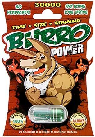 Burro Power, All Natural Energy Capsules Supplement for Men Male Pills (3 Pack)