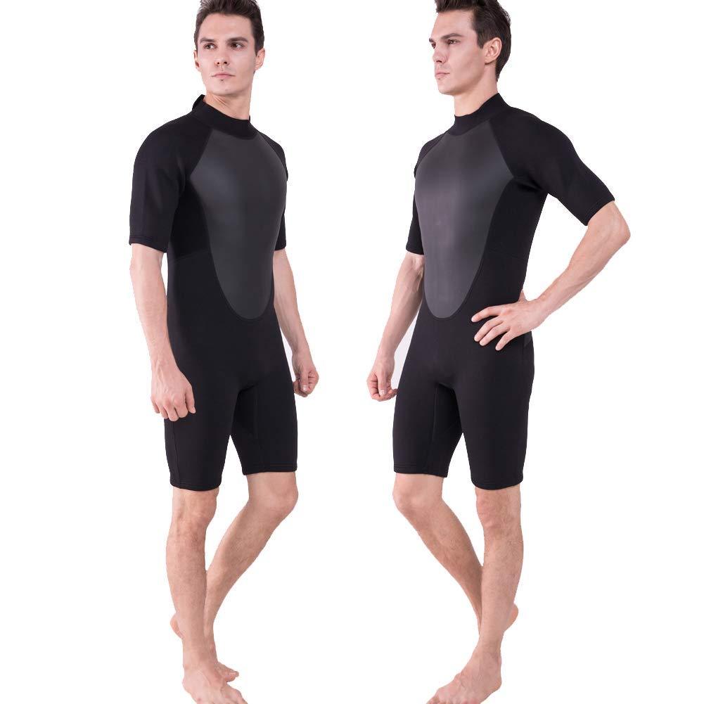 Realon Shorty Wetsuit Men 3mm Surfing Suit Diving Snorkeling Swimming Jumpsuit (3mm Black, Small)