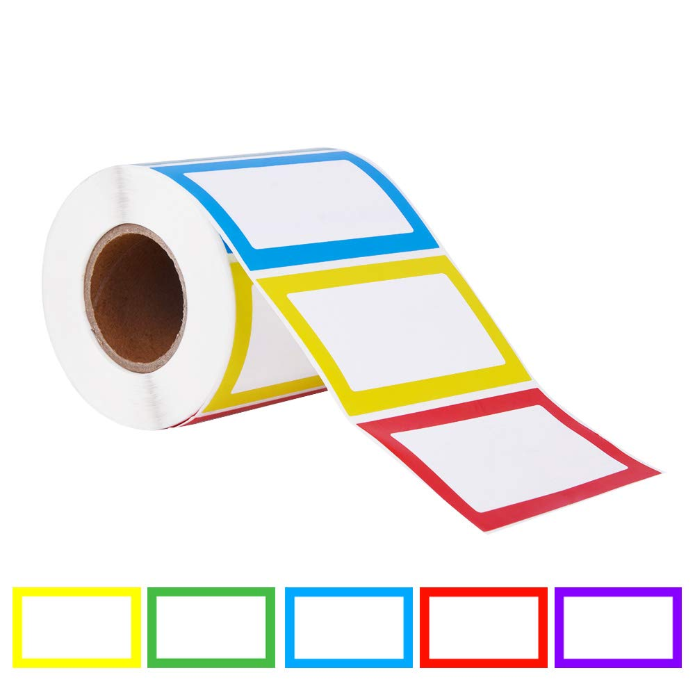 Colorful Bordered Name Tag Sticker Adhesive Labels(1 roll,500pcs,3.52 inch).Used for Parties,Schools,Students,Kids Clothes,Jars,Bottles,Food Containers.(5 Colors:Red,Yellow,Blue,Green,Purple)
