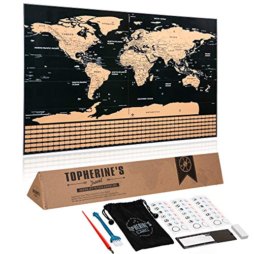 Scratch Off Map - Extra Large World Map Poster 32x23, Deluxe Travel Tracker for USA & Europe with Easy Scratchable Gold Foil, Best Wall Map for Globe Trekker or Traveler, Includes Premium Accessories