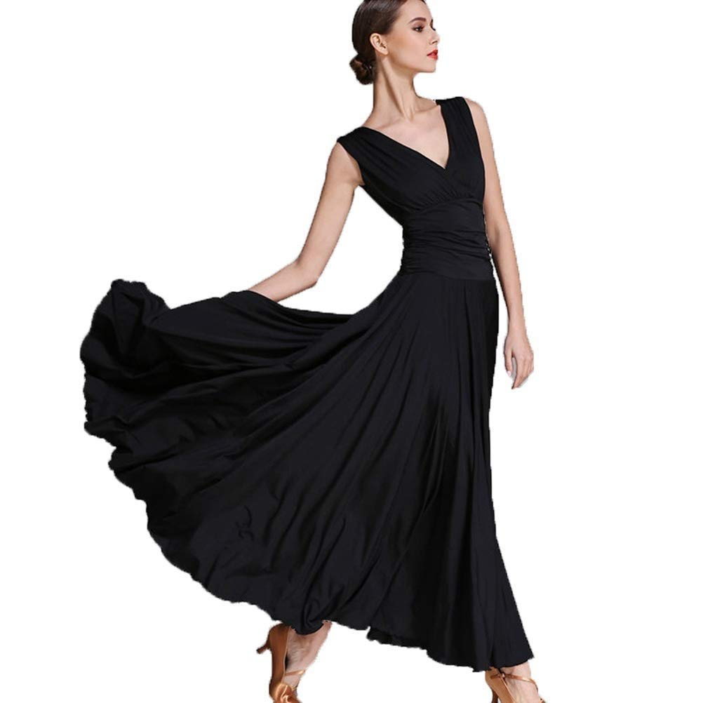 Noir CX Robes De Pratique De Danse De Salon Standard pour Les Femmes Perforhommece Dancing Costumes Jupe Expansion Robes De Valse Tango Robe De Danse Moderne XL