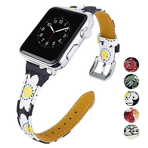 75d56c53fa7a KWLET Bracelet Compatible with 38mm Apple Watch Band Women Leather Bands  Series 3 Slim Retro Watch