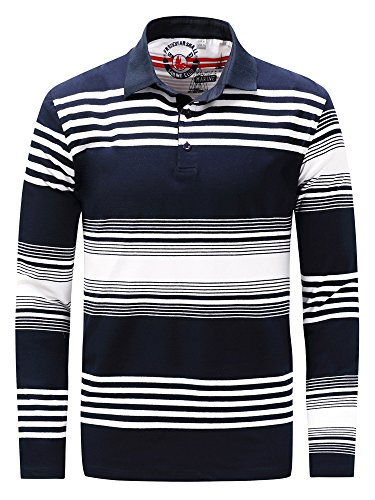 Cotton Long Sleeve Polo T-shirt (Neleus Men's Stripe Long Sleeve Cotton Polo Shirt,735,Blue & White,M,Tag L)