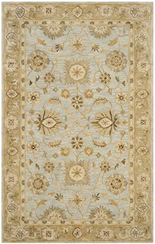 Safavieh Antiquities Collection AT856B Handmade Traditional Oriental Light Blue and Sage Wool Area Rug 6 x 9