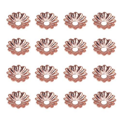 Make Beads Rose Petals - PH PandaHall Jewelry Making Metal Brass Bead Caps 5 Petal Flower Cup Shape Beads Diameter 6mm Rose Gold a Bag
