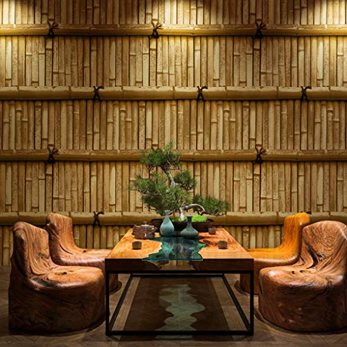 ZDQ Wallpaper Vintage 3D Effect Bamboo Weave Pattern Wallpaper PVC Vinyl Wall Decoration Suitable for Bars/Cafes/Restaurants LMD-027 (Color : B, Size : 393in20.8in)