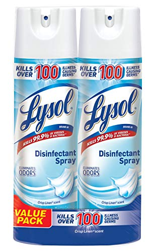 Lysol Disinfectant Spray, Crisp Linen, 38oz (2X19oz) (Am Lab Cleaning Products)