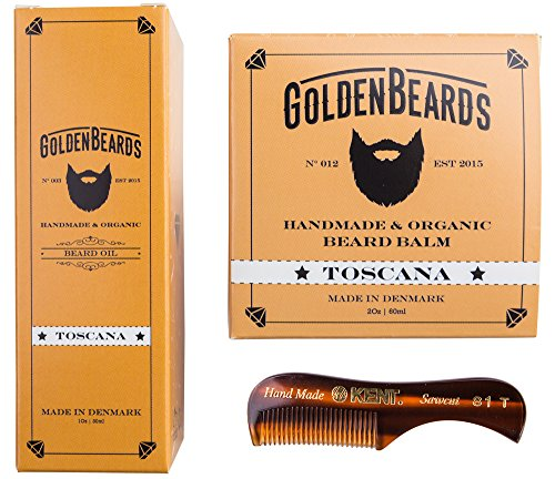 Beard Oil and Balm Kit for Men with Sensitive Skin, get our Handmade & Organic Beard Oil (1Oz) and Beard Balm (2Oz) and a small comb, now you can get your beard oil kit for men gift. Toscana
