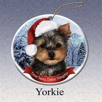 Holiday Pet Gifts Yorkie Santa Hat Dog Porcelain Christmas Tree Ornament - Amazon.com: Holiday Pet Gifts Yorkie Santa Hat Dog Porcelain