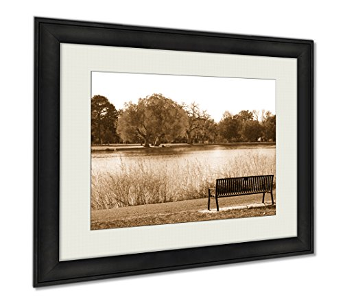 Ashley Framed Prints Green Tree In Black And White Landscape Scene With An Empty Park, Wall Art Home Decoration, Sepia, 26x30 (frame size), AG6384220 by Ashley Framed Prints