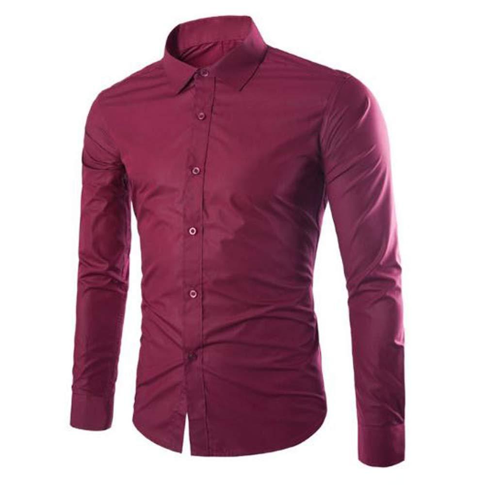 Gdtime - Camisa Casual - con los Botones - Liso - Clásico - para Hombre Rojo 3XL