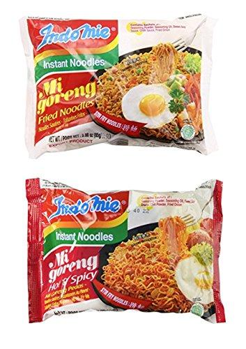 - Indomie Mi Goreng Instant Halal Stir Fry Noodles Original and Hot & Spicy Bundle, 10 counts total
