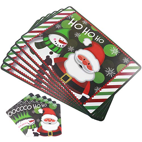 Tinksky Christmas Placemats Table Mats Cup Coasters Non Slip Heat Resistant 12 Pieces