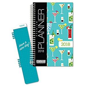 "Best Planner 2018 Agenda for Productivity, Durability and Style. 5 x 8"" Daily Planner / Weekly Planner / Monthly Planner / Yearly Agenda. Organizer with BOOKMARK and POCKET FOLDERS (Happy Hour)"