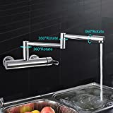 Kitchen Pot Filler Faucet Folding Stretchable Double Joint Swing Arm Wall Mounted Faucet Two Holes One Handle Kitchen Sink Faucet, Polished Chrome