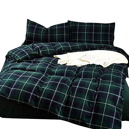 EnjoyBridal Plaid Duvet Cover Sets Queen Reversible Grid Bedding Covers Set Luxury Premium Cotton 3PCS Comforter Cover & 2 Pillow Cases Bed Cover Set with 4 Corner Ties, No Comforter
