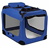 "Blue Portable Dog Crate Pet Carrier Foldable Kennel Soft Sided Cage 35""x24''x26'' Size 2XL With Ebook"