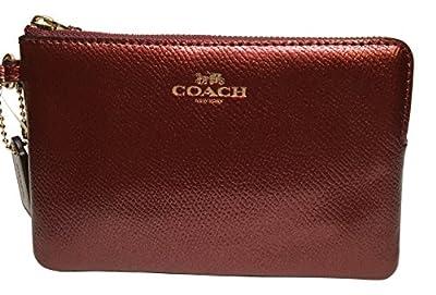 Coach Crossgrain Corner Zip Wristlet Metallic Cherry 54626