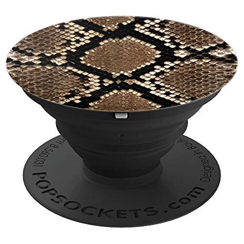 Snake Skin Animal Print Fashion Black Brown Copper Design - PopSockets Grip and Stand for Phones and Tablets