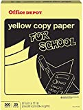 Office Depot Colored Copy Paper, Yellow, 8 1/2 Inch x 11 Letter Size, 20 lb. Density, 300 Sheets Pack (375-203)