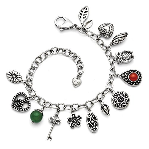 Jewelry Bracelets Themed Bracelets Stainless Steel Synthetic Jade and Red Glass with 2in ext. Charm Bracelet