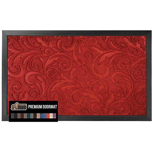 Gorilla Grip Original Durable Natural Rubber Door Mat, 23x35, Large Heavy Duty Doormat, Indoor Outdoor Waterproof, Easy Clean Low-Profile Autumn Mats for Entry and High Traffic Areas, Red Vintage Wine
