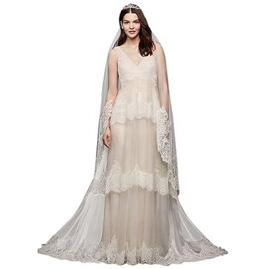 David\'s Bridal Extra Length Eyelash Lace Layered Wedding Dress Style ...