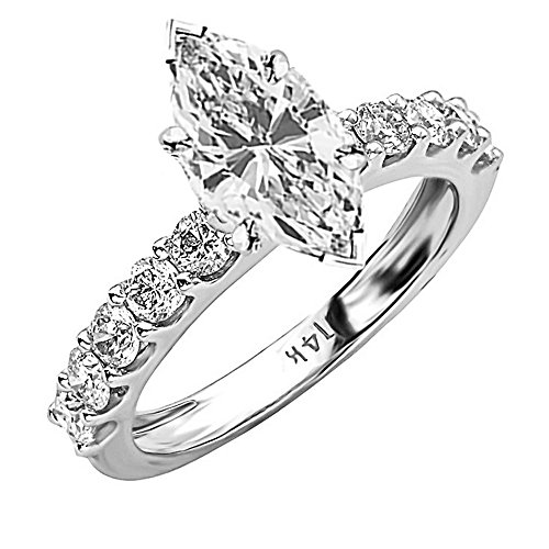 1.9 Cttw 14K White Gold Marquise Cut Classic Side Stone Prong Set Diamond Engagement Ring with a 1 Carat H-I Color SI2-I1 Clarity Center Image