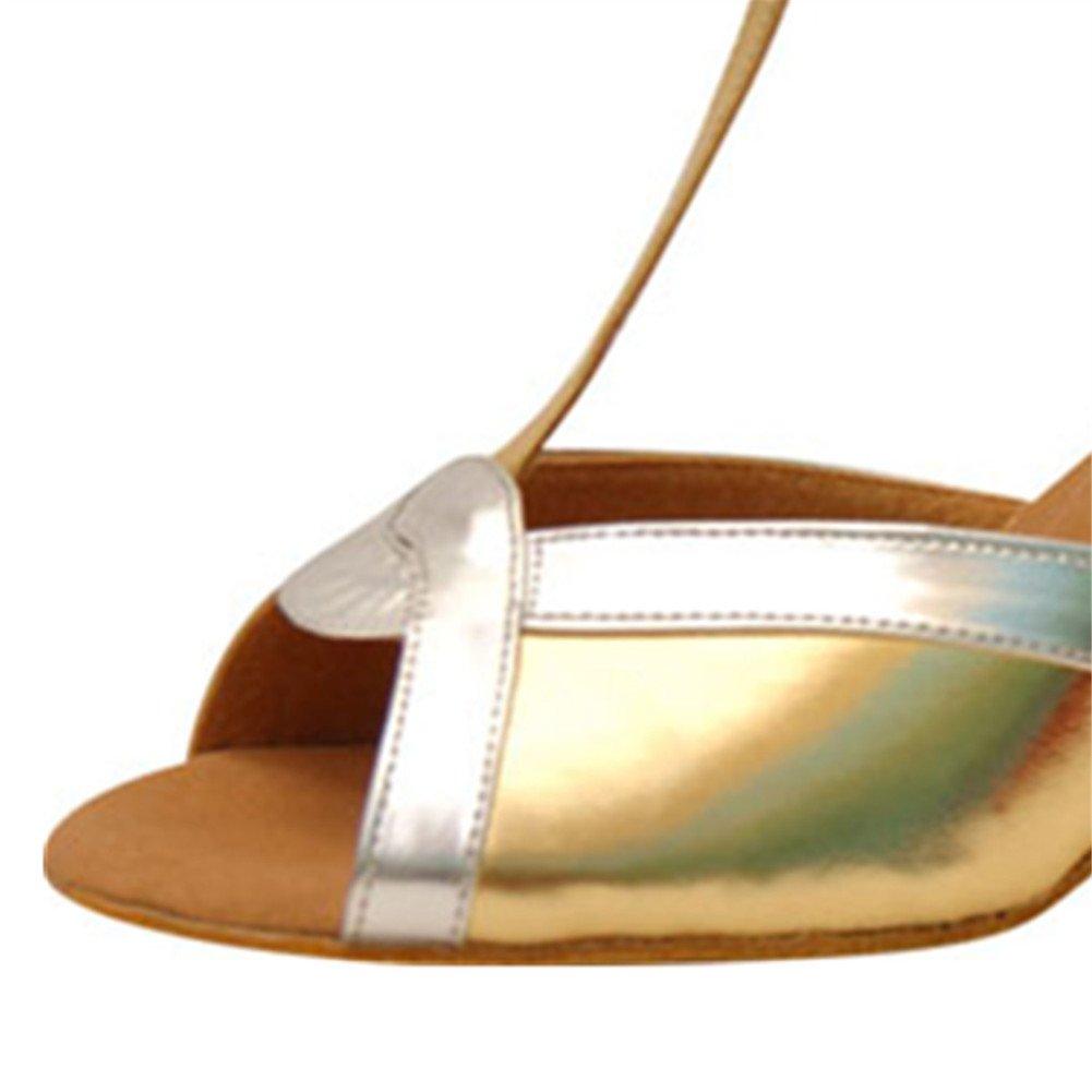 GUOSHIJITUAN Womens Latin Dance Shoes,Soft Bottom Pu High Heel Salsa Dancing Shoes Tango Social Dancing Shoes