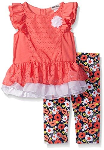 Toddler Girls Capri Set (Little Lass Baby Toddler Girls' 2 Piece Fashion Capri Set, Peach, 2T)