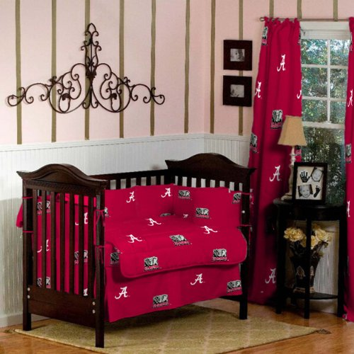 ALABAMA CRIMSON TIDE 100% COTTON BABY CRIB BEDDING WITH CURTAINS - 9 PC SET by Lantrix