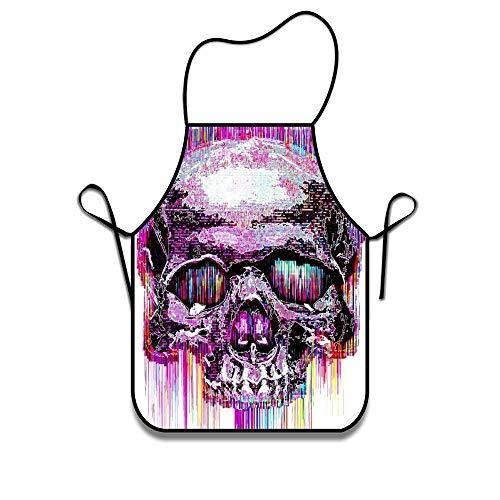 Smbada Apron Women Apron Chef Kitchen Cooking Apron Bib – Tattoo Watercolor Skull