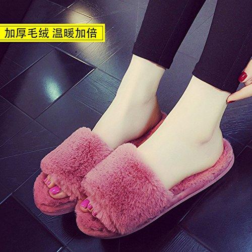 Fankou pantofole di cotone spessa femmina soggiorno invernale home, selezionare e trascinare la parola pantofole ,40-41, il vino rosso