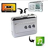 LeaningTech Cassette Player Portable Tape Player Captures MP3 Audio Music via USB, Compatible with Laptops and PC