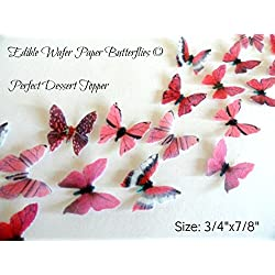 Assorted Pink Wafer Paper Butterflies 7/8 Inch for Decorating Desserts Wedding Cakes Cupcakes Pack of 24