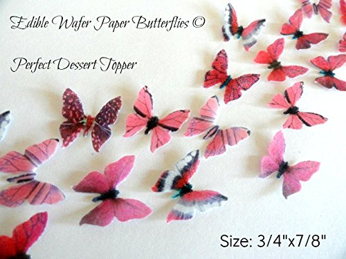 Assorted Pink Wafer Paper Butterflies 7/8 Inch for Decorating Desserts Wedding Cakes Cupcakes Pack of 48