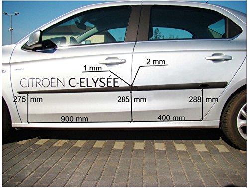 Cuerpo Lateral Molduras adecuado para Citroen C-Elysee puerta moldura 4 pcs kit Trim pantalla, negro color: Amazon.es: Coche y moto