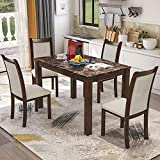 Harper & Bright Designs Dining Kitchen Table Set with Chairs - 5-Piece Kitchen Dining Table Set Include 1 Marble Top Table and 4 Burlap Chair