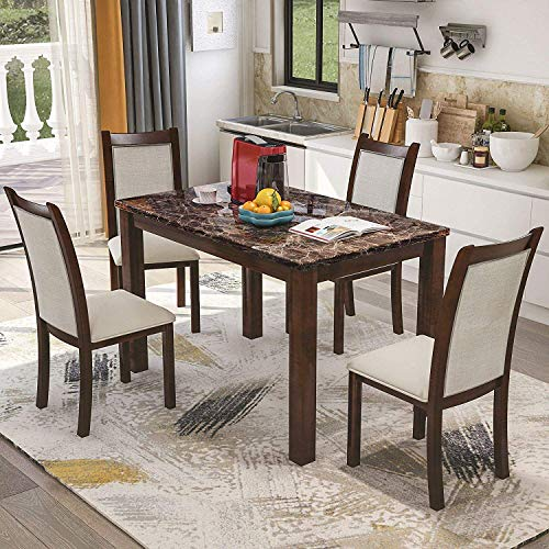 Harper & Bright Designs Dining Kitchen Table Set with Chairs - 5-Piece Kitchen Dining Table Set Include 1 Marble Top Table and 4 Burlap - 5 Room Set Piece Dining