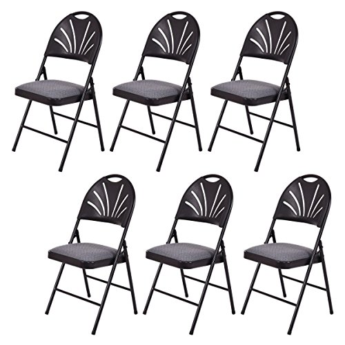 Giantex Set of 6 Folding Chairs Fabric Padded Seat Plastic Back Metal Frame Home Office(Black&Grey)