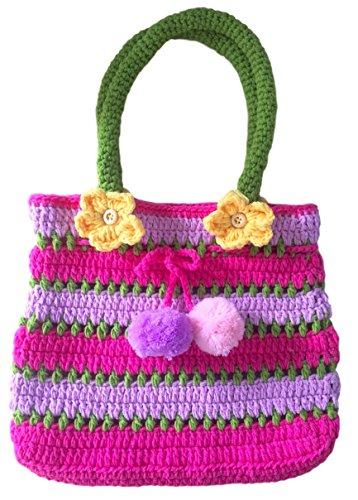 Pom Pom Handbag, Little Girls Boho Purse, Pink & Purple, Soft Handmade Crochet, Drawstring Closure, Flowers Front & Back, 6, 5, 4 Year Old Girl Gifts, So Beautiful & Unique ... Just Like Her!